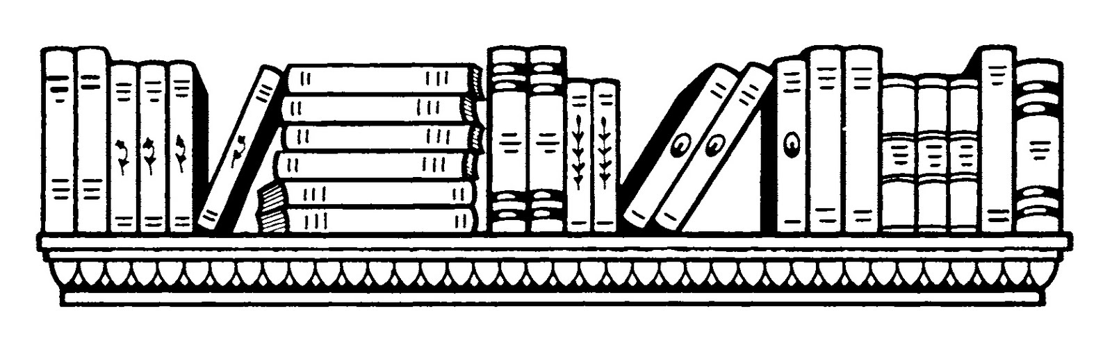 Bookshelf Black And White Clipart 1