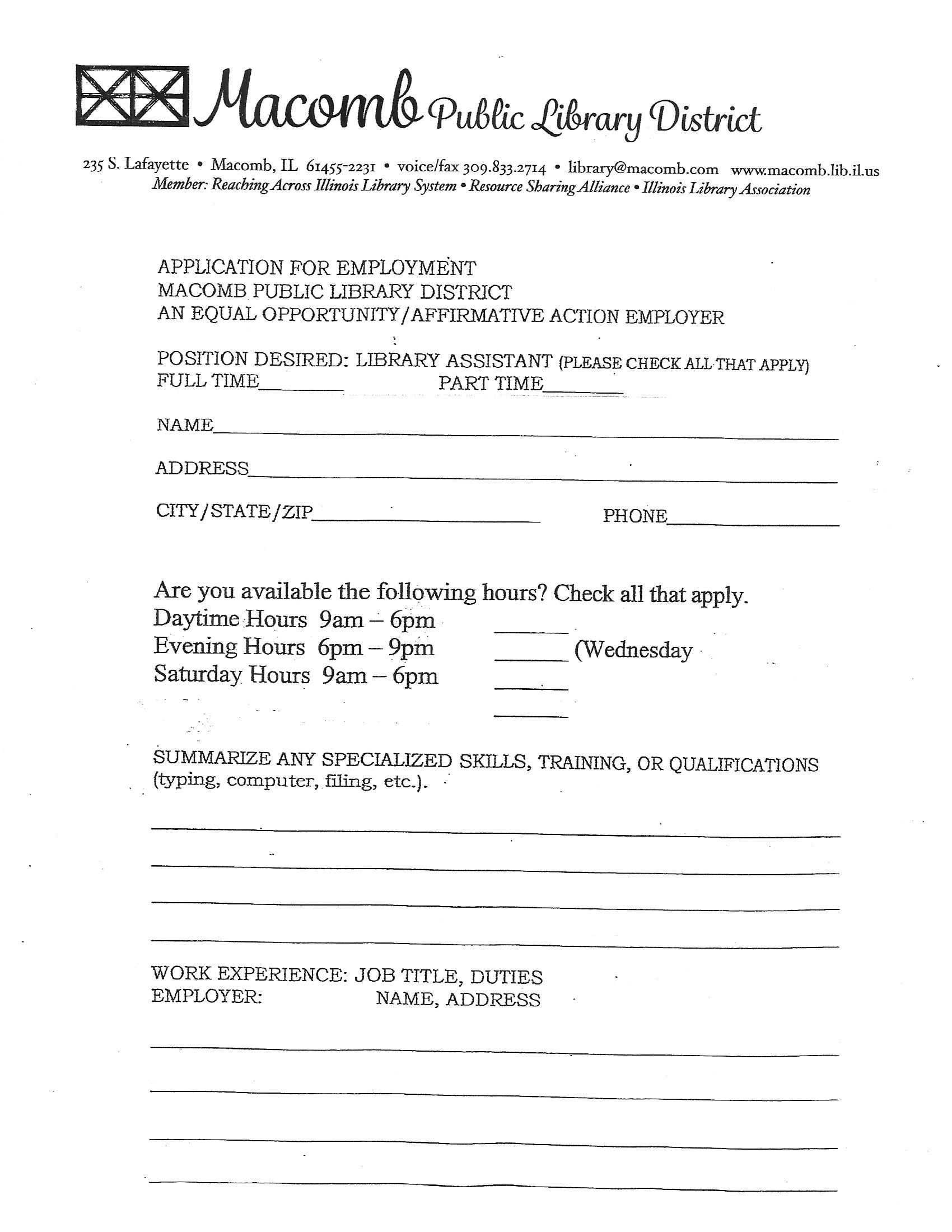 about the macomb public library macomb il you can also pick up a print copy of the application at the front desk